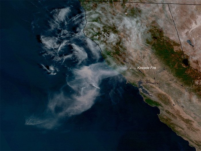 The GOES West satellite spotted the Kincade Fire on 24 October 2019.