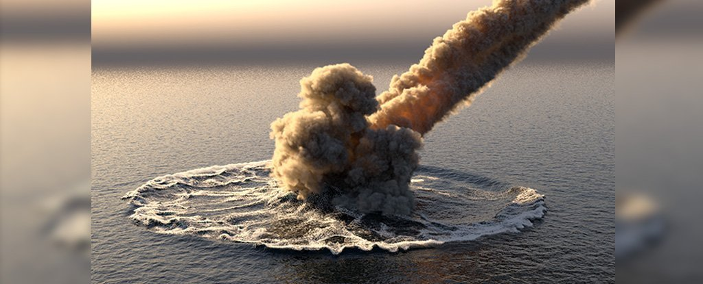 3D illustration of an asteroid impact on water.