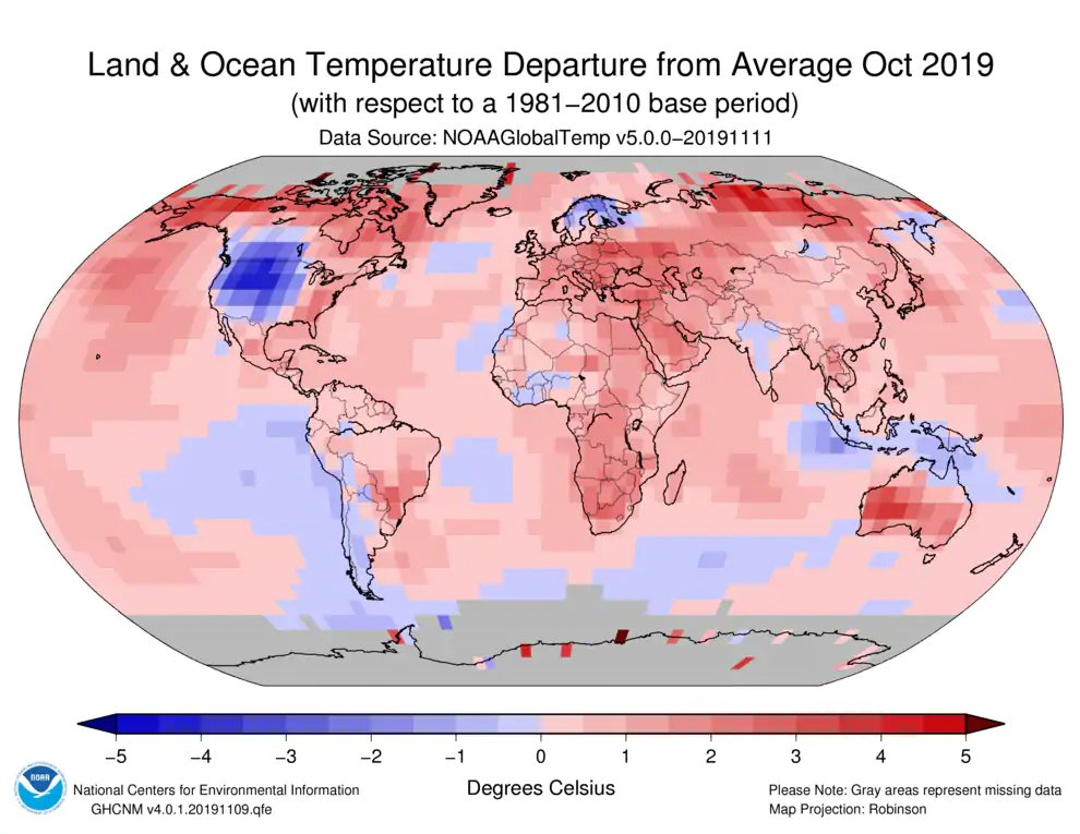 Global land and ocean temperature departures from average for October 2019. (NOAA)