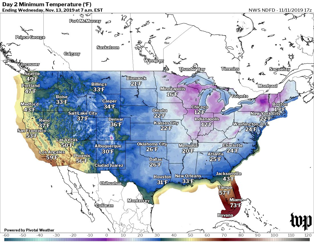 Forecast lows for Wednesday (The National Weather Service)