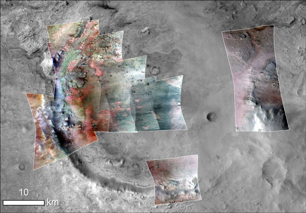 CRISM image of Jezero crater, green indicates carbonates. (NASA/JPL-Caltech/MSSS/JHU-APL/Purdue/USGS)