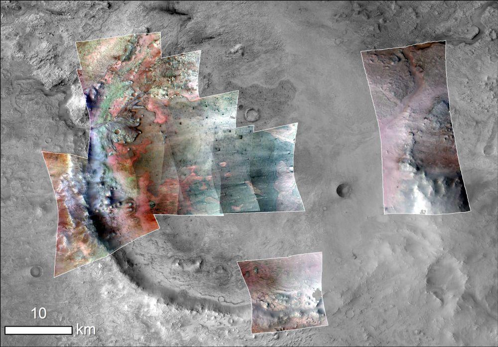 CRISM image of Jezero crater, green indicates carbonates. (NASA/JPL-Caltech/MSSS/JHU-APL/Purdue/USGS)