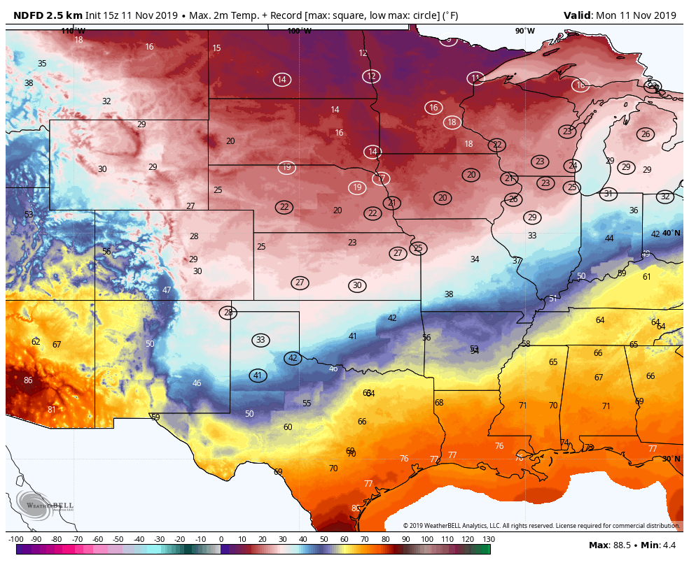 Forecast highs on Monday, with near low records circles. (WeatherBell.com)