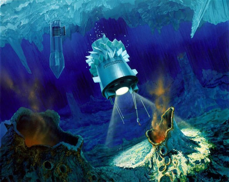 Ocean cryobot concept, a robot capable of penetrating water ice. (NASA)