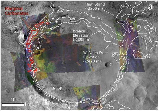 Marginal carbonates are outlined in red. (NASA/MRO/ Horgan et. al. 2019)