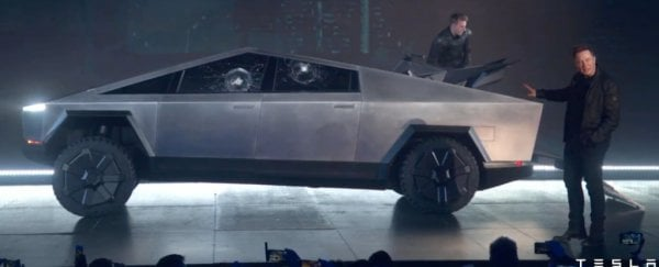 Elon Musk unveils Tesla's 'bulletproof' cybertruck - and it all goes terribly wrong