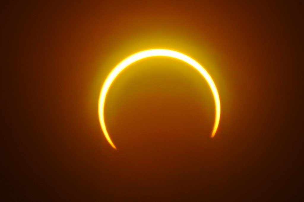 solar eclipse as seen from Balut Island, Saraggani province in the southern island of Mindanao