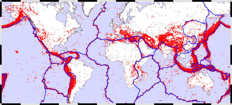 Earth's tectonic fault lines (blue) and zones of volcanic activity (red). (zmescience.com)