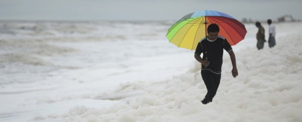Toxic white foam washes up on Indian beach, and people don't know to stay away