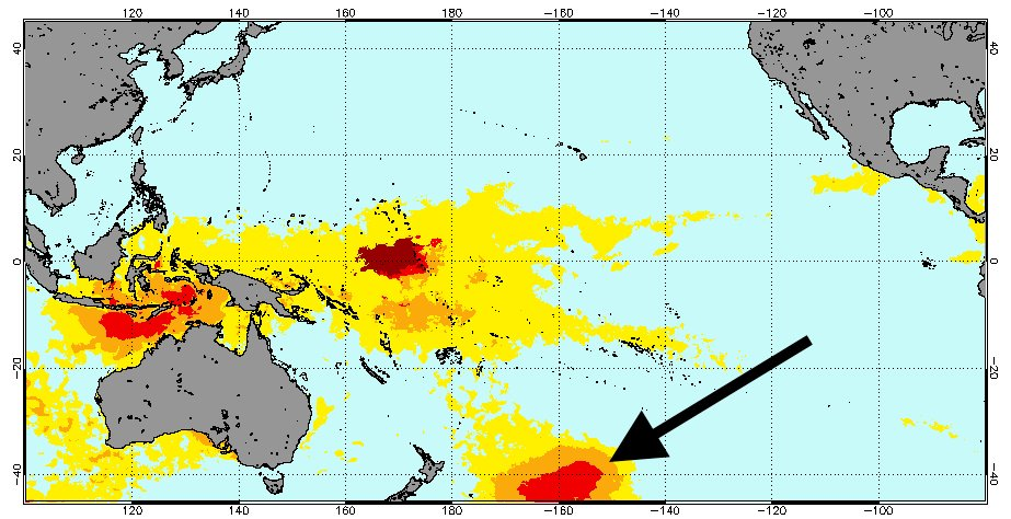 Areas of high risk for corals in the South Pacific. (NOAA Coral Reef Watch)
