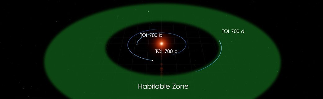 The orbits of TOI 700's three known planets. (NASA's Goddard Space Flight Centre)