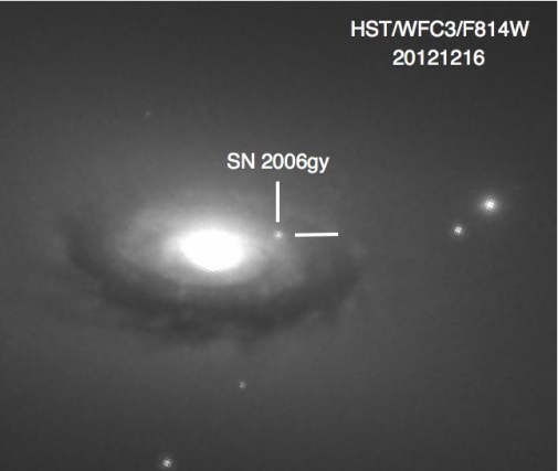 A Hubble Wide-Field Camera image of SN 2006 gy and its galaxy NGC 1260. Image Credit: Image: Fox, Ori D. et al. Mon.Not.Roy.Astron.Soc. 454 (2015) no.4