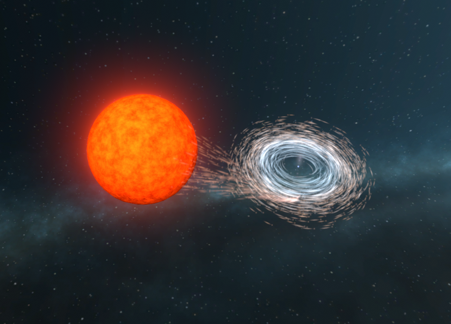Illustration of a white dwarf being spun-up by the transfer of matter from its companion. (ARC Centre of Excellence for Gravitational Wave Discovery)