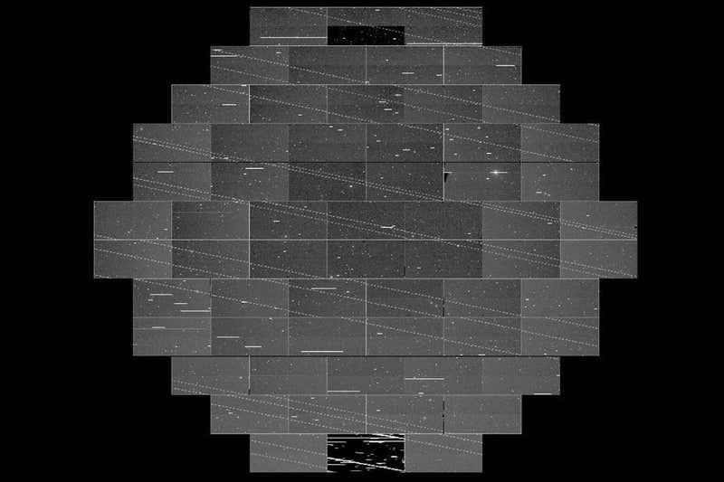 Starlink's dotted line trails photo bombing the Dark Energy Camera's view (Cliff Johnson/Clara Martínez-Vázquez/DELVE Survey)