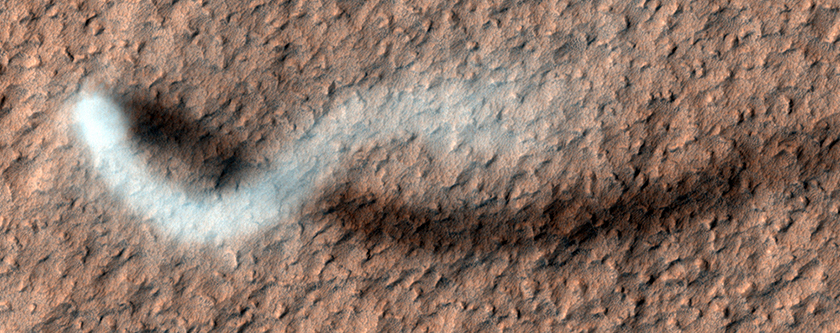 Serpentine dust devil from 2012. (NASA/JPL/UArizona)