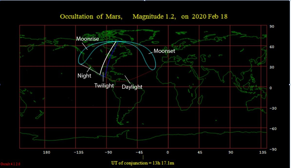 The visibility footprint for tomorrow's occultation. (Occult 4.0)