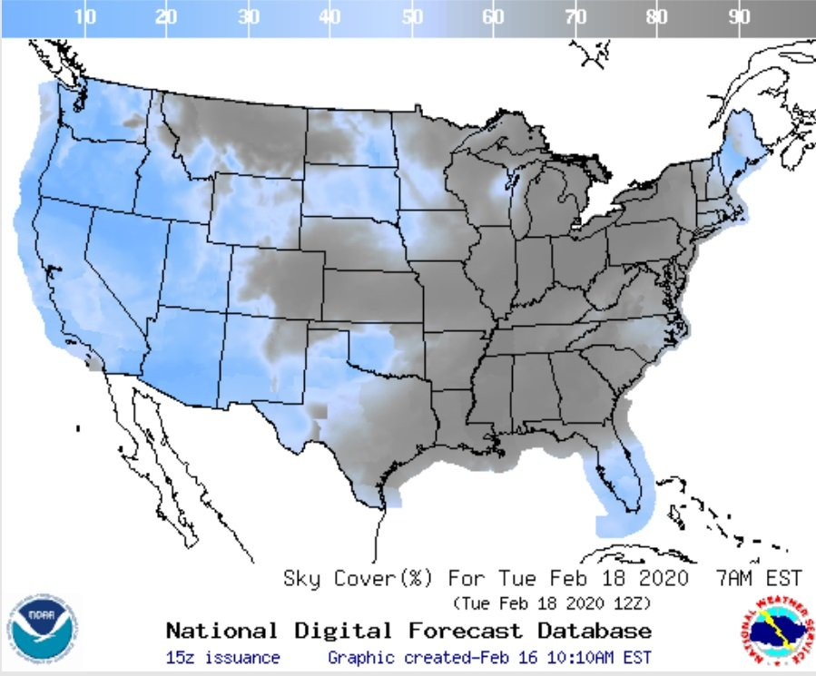 Cloud cover prospects for the US Tuesday morning. (NOAA/NWS)