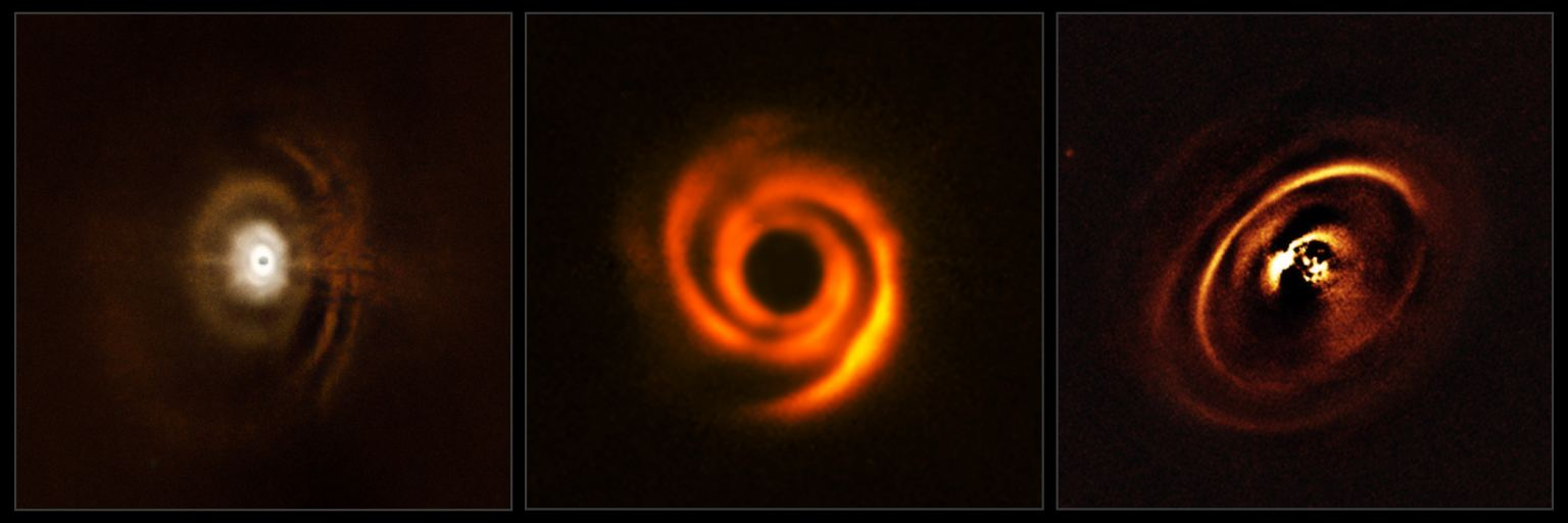 Three planetary disks observed by ESO's SPHERE instrument. (ESO)