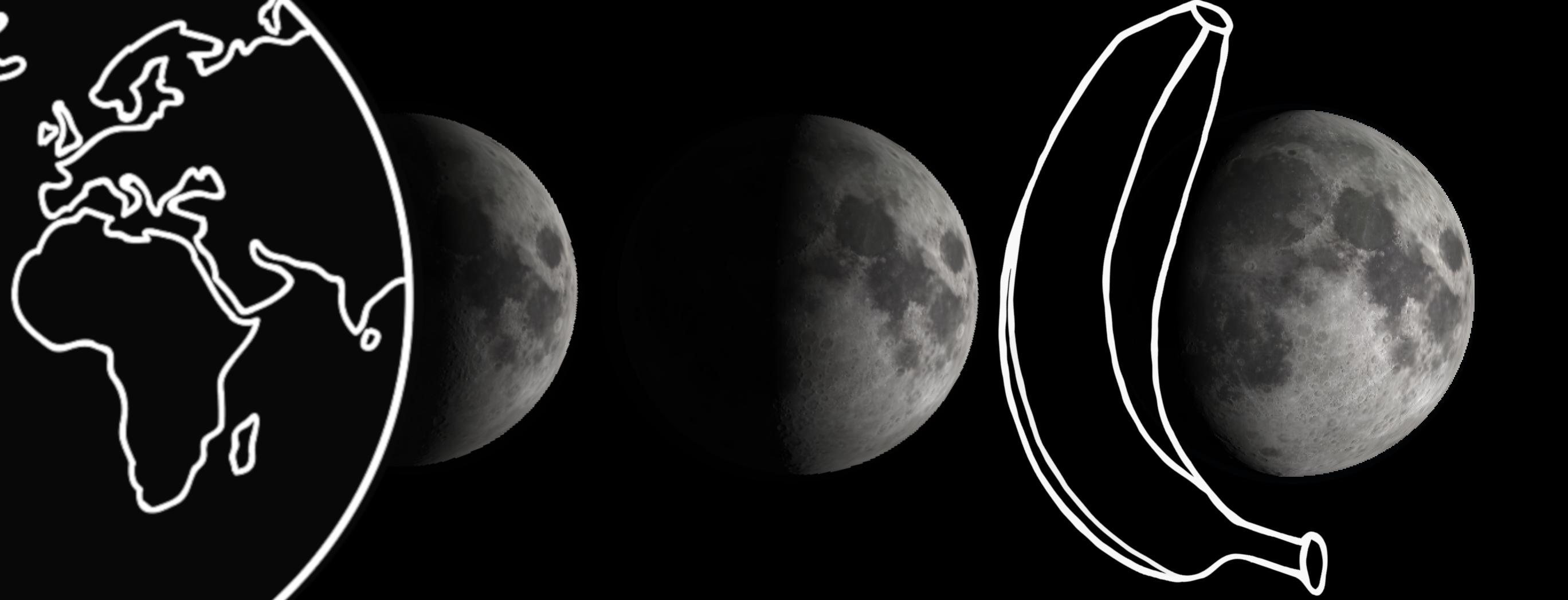 Illustration of three moon phases. (Daniel Brown)
