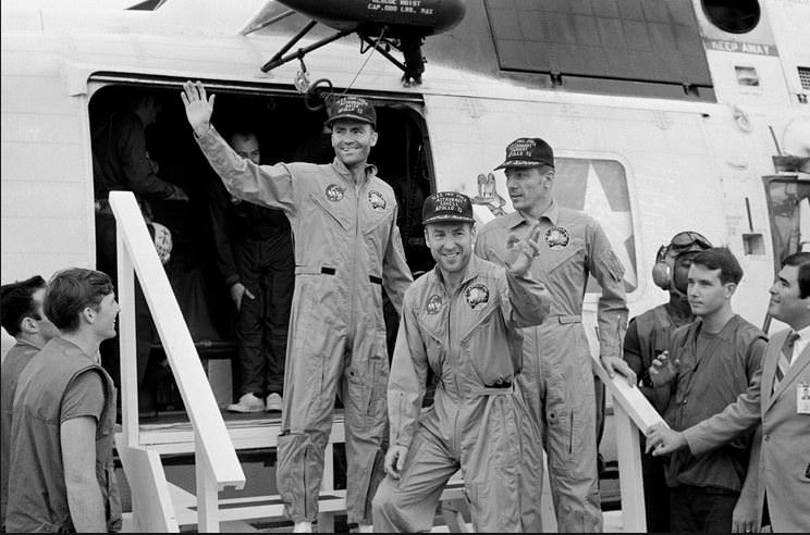 The crew of Apollo 13 after landing safely. (NASA)