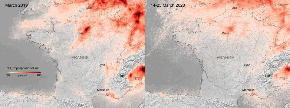 Nitrogen dioxide concentrations over France. (ESA)