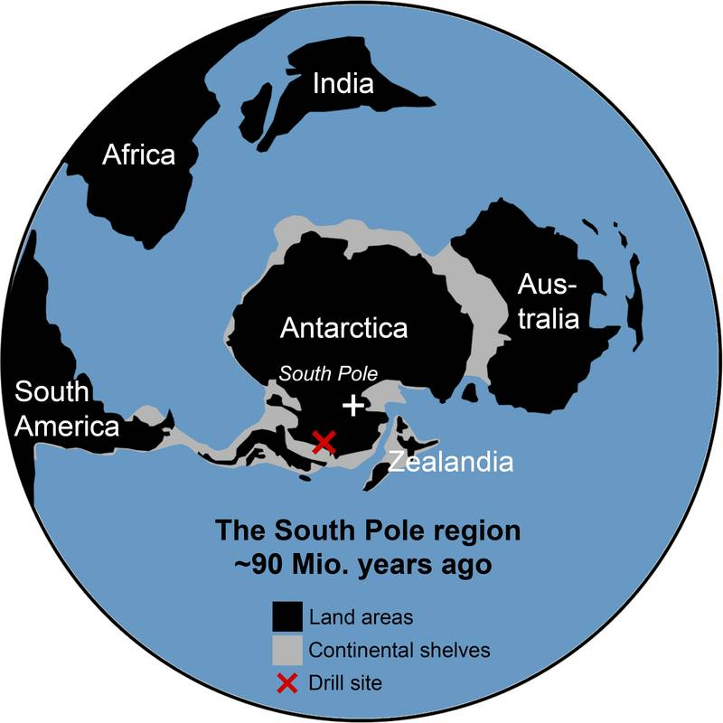 Simplified overview map of the South Polar region at time of deposition ~90 million years ago