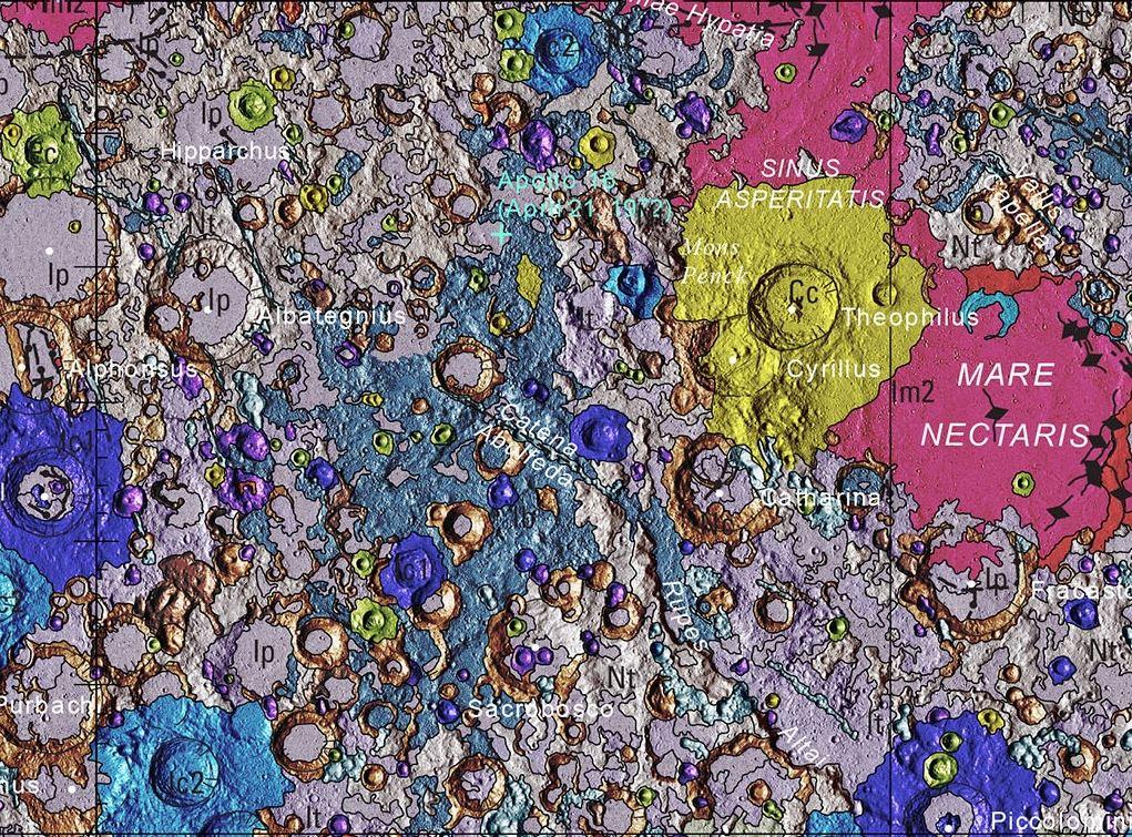 moon map geologic fragment