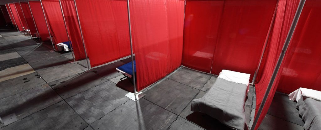 Cots in a quarantine tent for the homeless at the Clark County-City of Las Vegas, April 13.