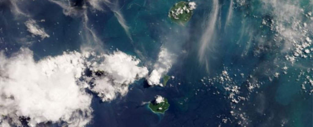 Sunda Strait region on April 13, with Anak Krakatau and its plumes in the center.