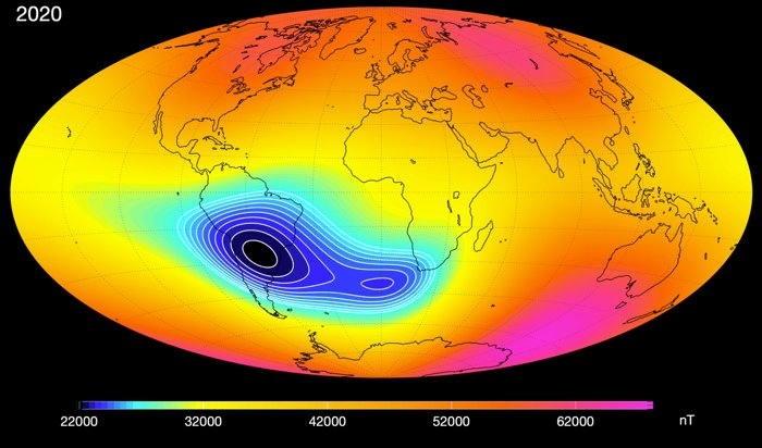 The Mysterious Anomaly Weakening Earth's Magnetic Field Seems to Be Splitting