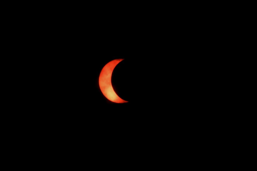 The moon moves in front of the sun during an annular solar eclipse as seen from Kolkata on June 21, 2020 (Debajyoti Chakraborty/NurPhoto)