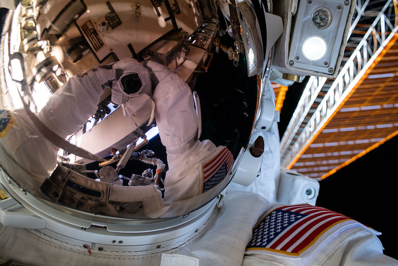 Astronaut spacewalk selfie, 26 June 2020. (NASA)