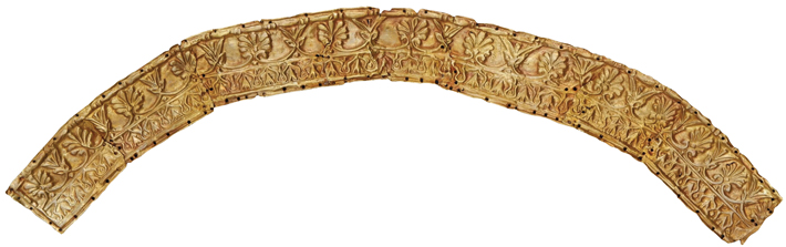 Plate from headdress made from an alloy of 65-70 percent gold. (Institute of Archaeology, Russian Academy of Sciences)
