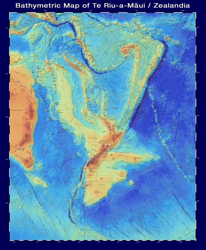 bathymetric map of zealandia