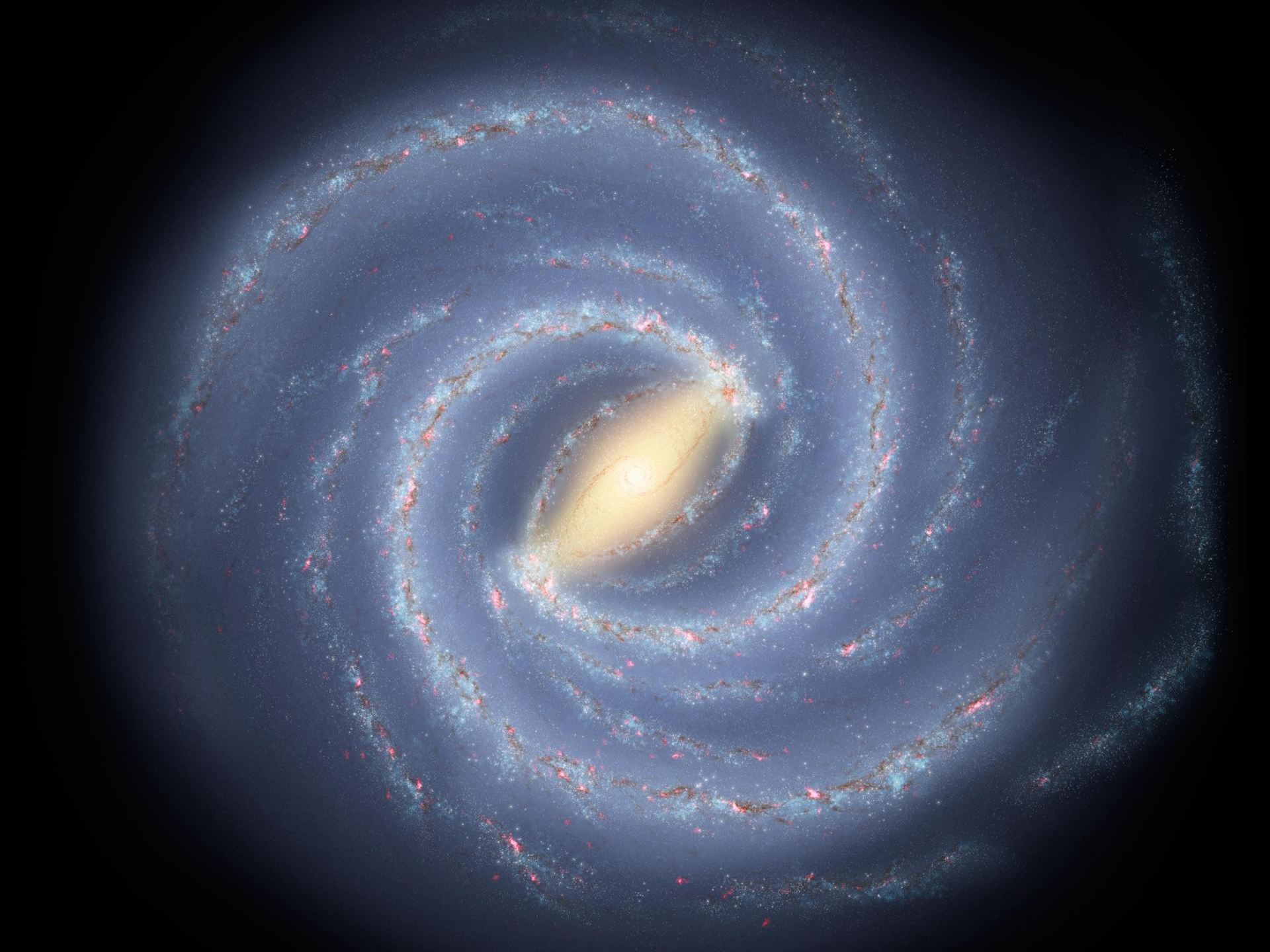 Concept of the Milky Way showing its central bar. (NASA/JPL-Caltech)