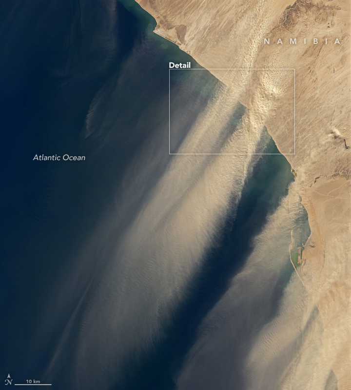 Satellites Capture a Massive Dust Storm in Namibia Streaming Over The Atlantic Ocean