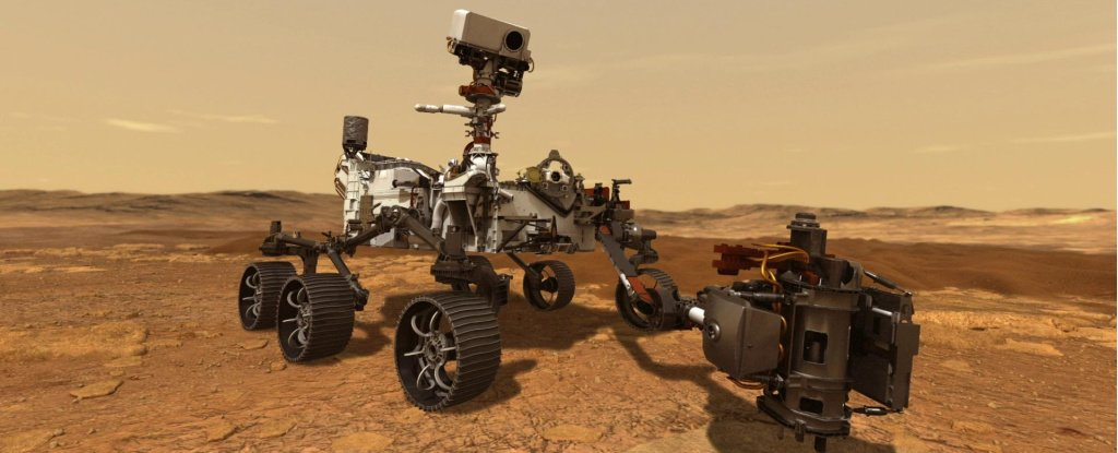 Artist's impression of the Perseverance rover.