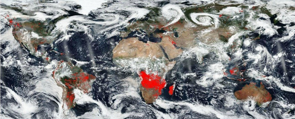 NASA image showing Earth's fires between 15-22 August 2018.