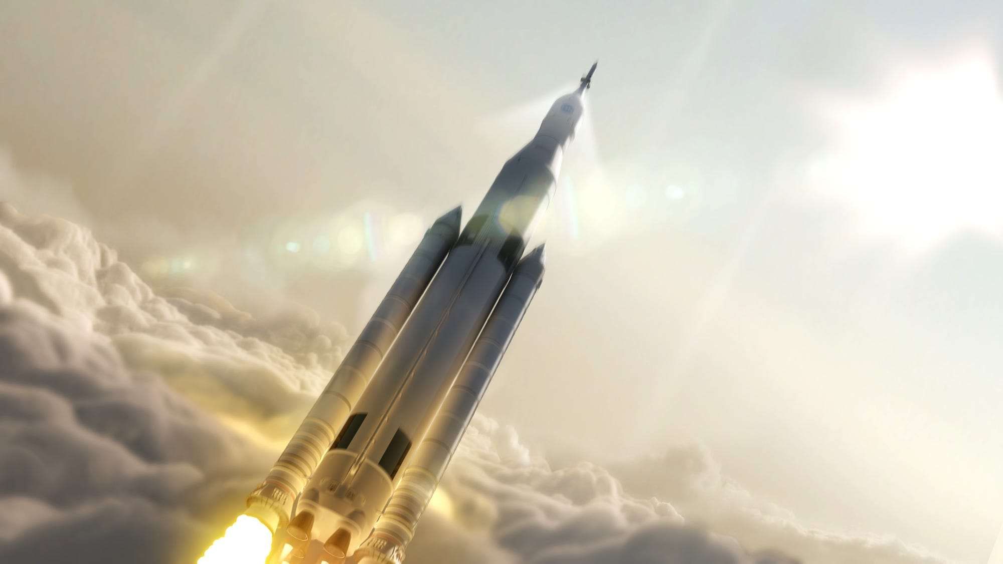 Artist's depiction of NASA's Space Launch System. (NASA/MSFC)