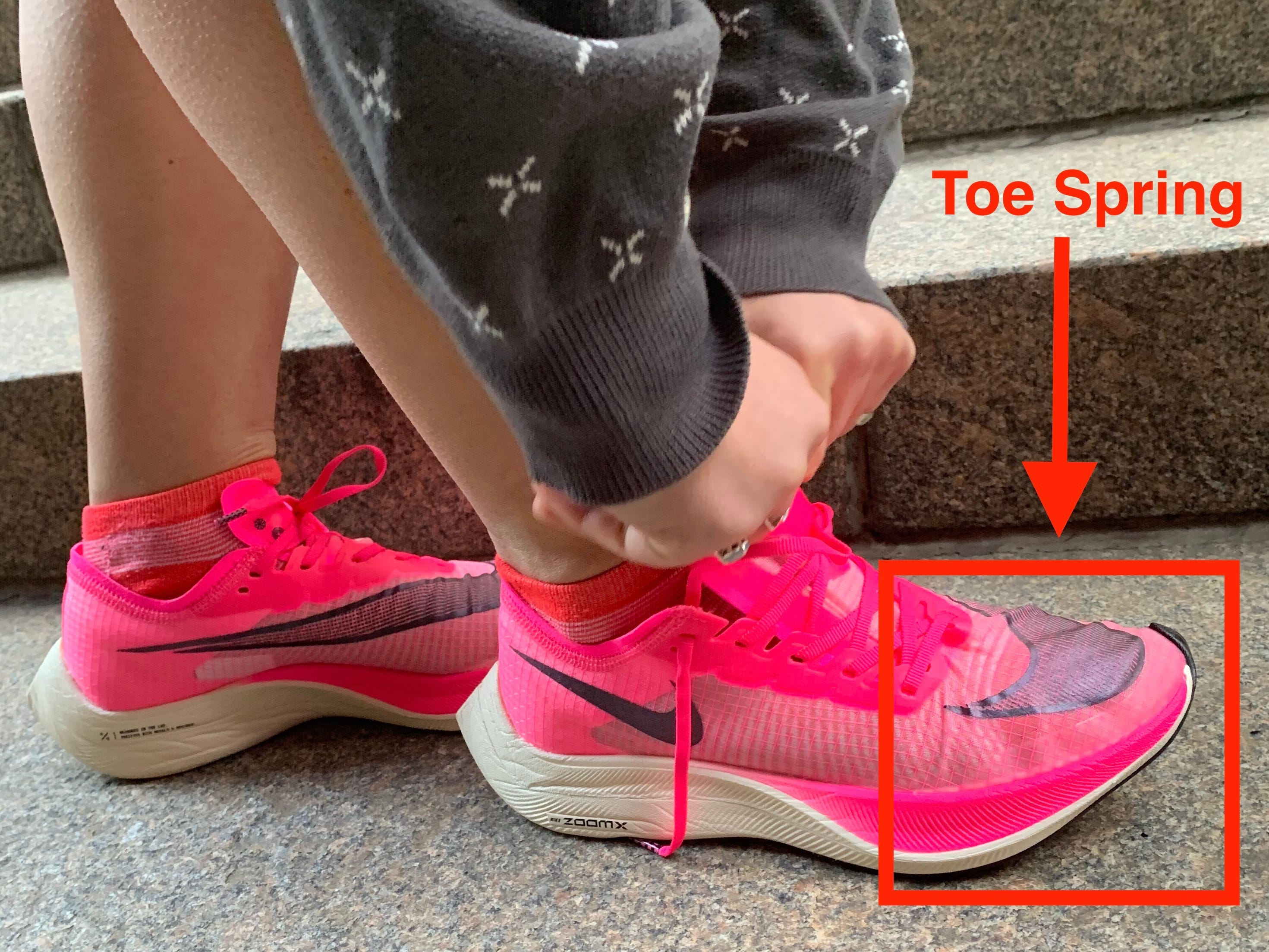 Upward curve at front of modern-day sneakers is called the toe spring. (Aylin Woodward/Business Insider)