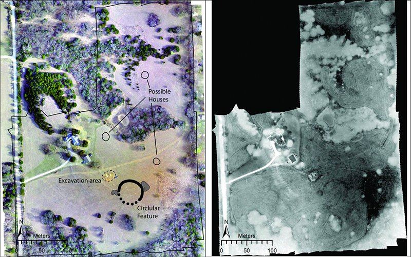Remote sensing imagery of what is believed to be the Wichita 'Council Circle' Monument on a Ranch in Kansas.