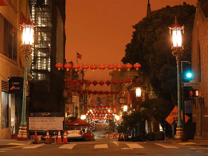 san francisco's red skies looking at chinatown