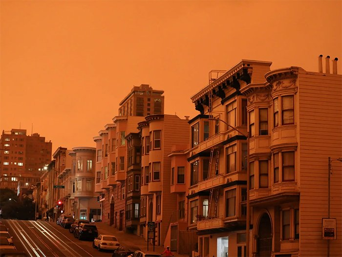 san francisco's streets under red skies