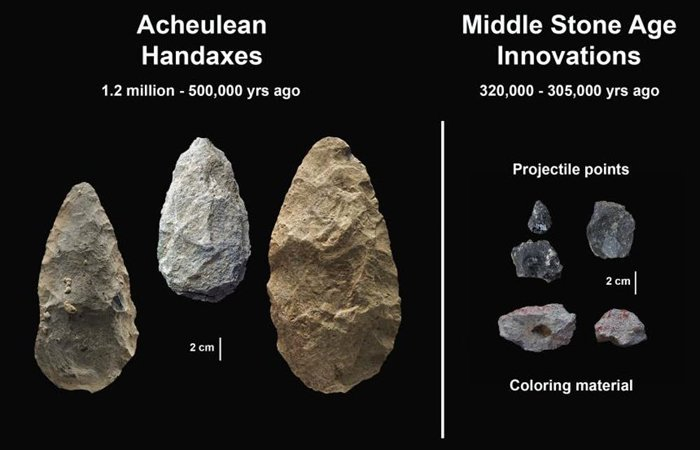 Three Achulean handaxes are positioned next to five, much smaller, stone projectiles from the Middle Stone Age.