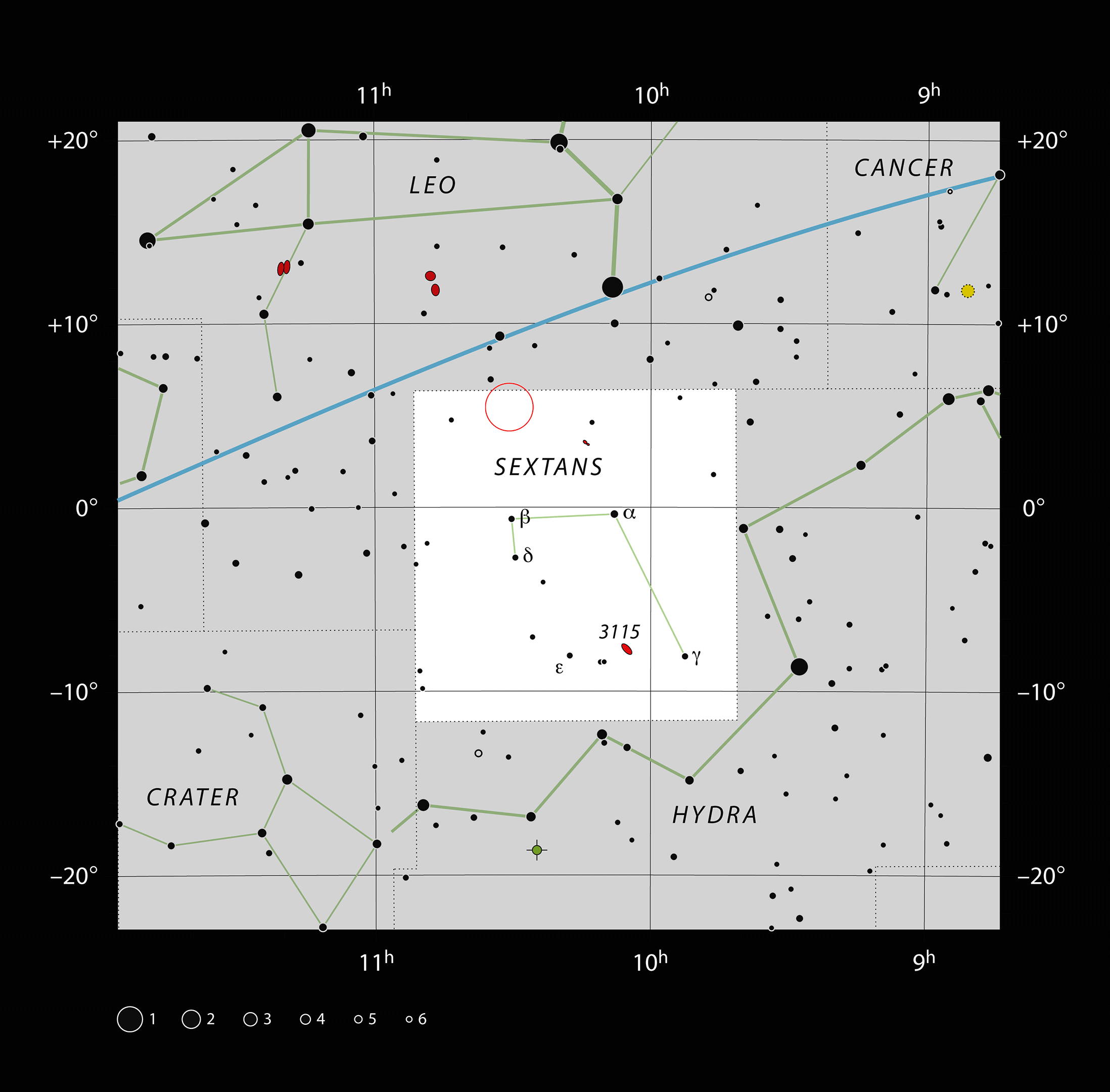 The location of the quasar (red circle) in the constellation of Sextans. (ESO/IAU Sky & Telescope)