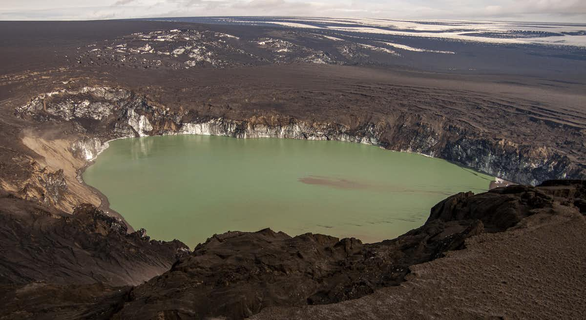 The roughly 1.5km wide hole melted in the ice by the 2011 eruption. (Dave McGarvie)
