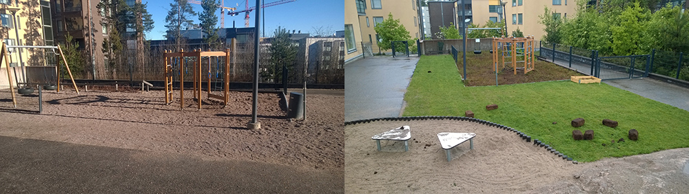 One daycare before (left) and after introducing grass and planters (right). (University of Helsinki)