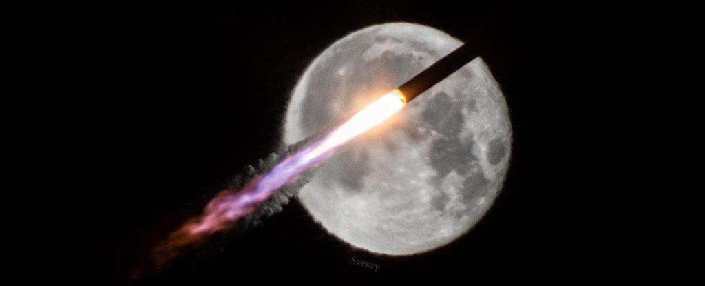 NASA's Cygnus NG-14 transiting in front of a nearly full moon on 2 October 2020.