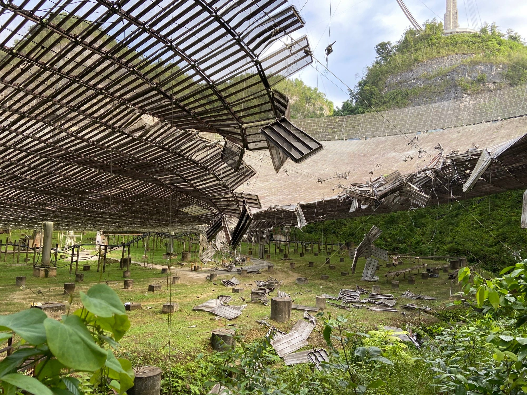 The reflector dish was damaged when a support cable broke in August 2020. (Arecibo Observatory)