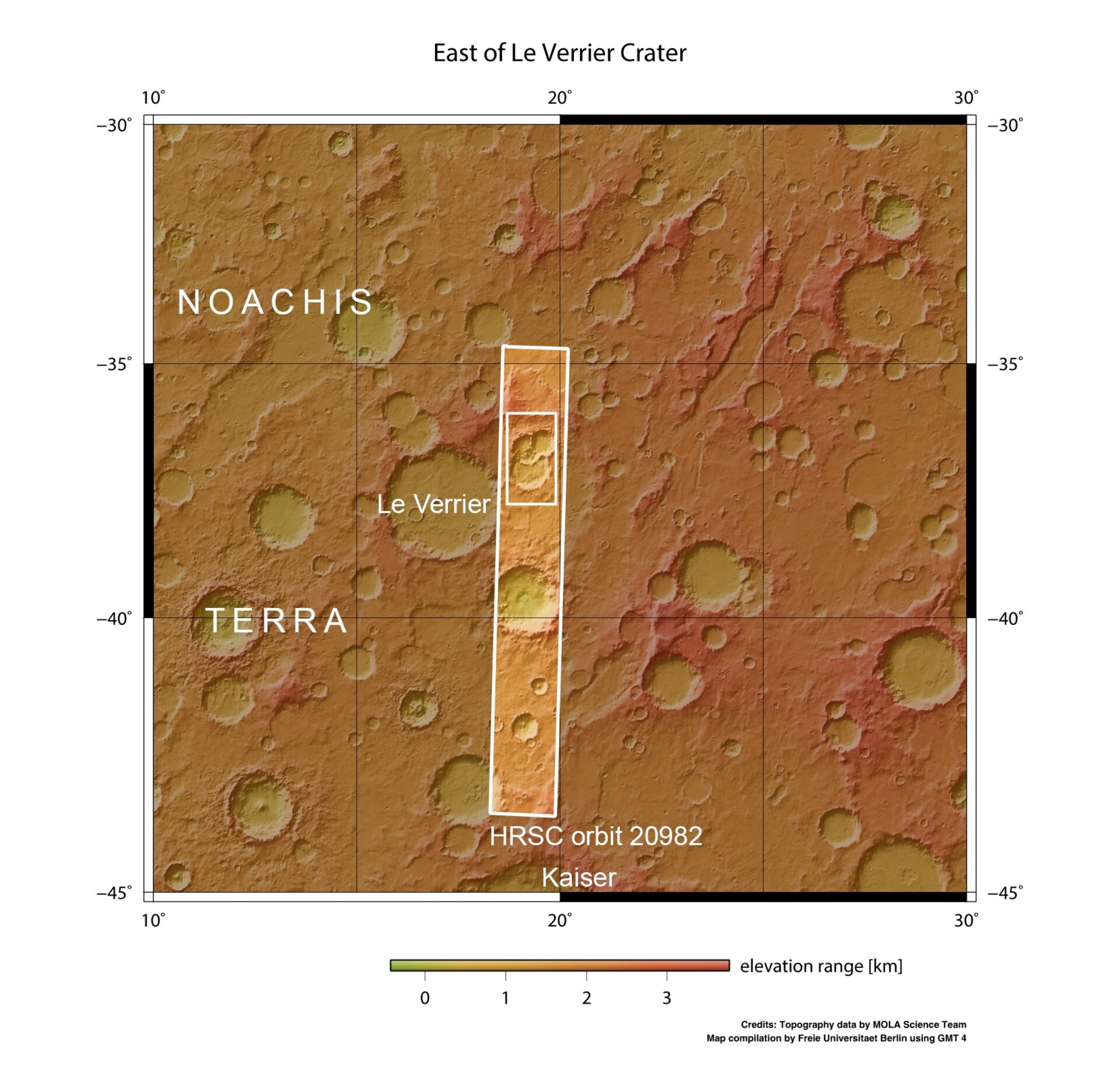 In context Triple crater east of Le Verrier pillars